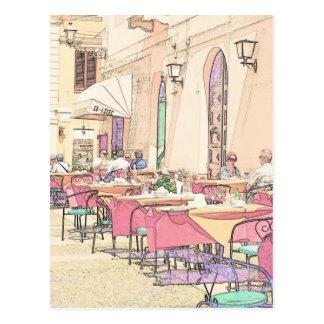 Café italiano de la acera postal
