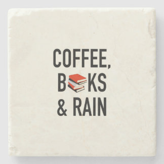 Café, libros y lluvia posavasos de piedra