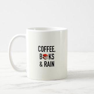 Café, libros y lluvia taza de café