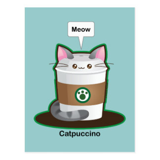 Café lindo del gato postal