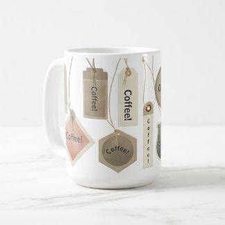 Café o cuaesquiera etiquetas del nombre del taza de café