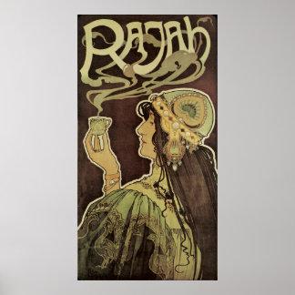 Café Rajah, té de consumición de Nouveau del arte Póster
