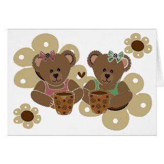 Café, tarjeta de los osos de peluche de los amigos