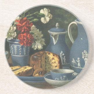 Café, torta, té y flores de la tarde del vintage posavasos diseño