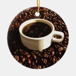 Café y habas adorno redondo de cerámica