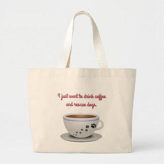 Café y tote de los perros bolsa de tela grande