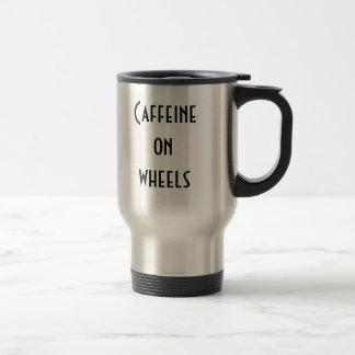 Cafeína en las ruedas taza de viaje de acero inoxidable