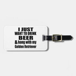 Caída con mi golden retriever etiqueta para maletas