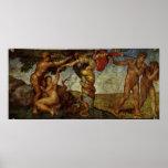 Caída del jardín de Eden, fresco, Miguel Ángel Poster