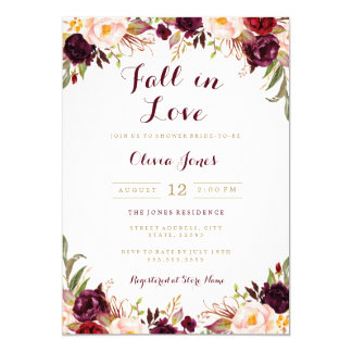 Caída en tarjeta nupcial floral de la ducha de