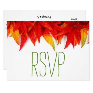 Caída rústica de las hojas de otoño Wedding- RSVP Invitación 8,9 X 12,7 Cm