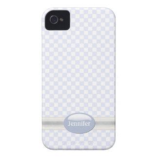 Caja a cuadros azul clara y blanca elegante del funda para iPhone 4