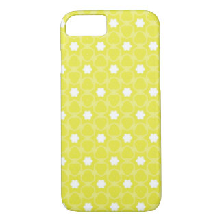 Caja amarilla del teléfono con las flores blancas funda iPhone 7