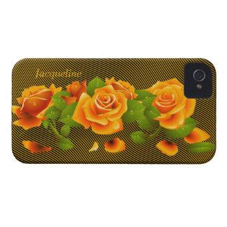 Caja anaranjada del iPhone 4 de los rosas de la Case-Mate iPhone 4 Coberturas