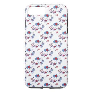 Caja azul blanca roja del teléfono celular del funda iPhone 7 plus