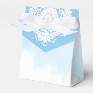 Caja azul C del favor del damasco del país de las
