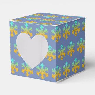 Caja azul de Bckground de los copos de nieve