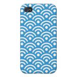 Caja azul de Iphone 4/4S del diseño de Seigaiha de iPhone 4 Cárcasa