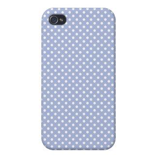 Caja azul de Iphone 4 del lunar de la lavanda pequ iPhone 4 Cobertura