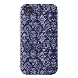 Caja azul de la mota del pañuelo iPhone 4/4S fundas