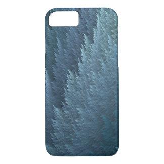Caja azul del modelo de la pluma del tartán de la funda iPhone 7