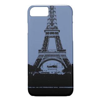Caja azul del teléfono de la torre Eiffel Funda iPhone 7