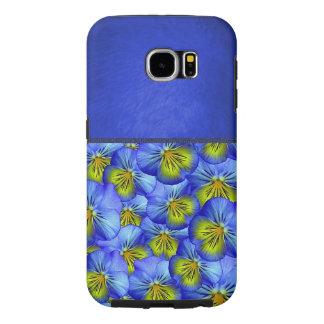 Caja azul fresca del estampado de flores funda samsung galaxy s6