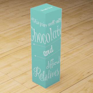 Caja azul verde azulada del vino del chocolate y