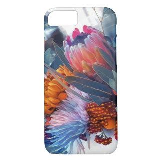 Caja azul y anaranjada suave, delicada, floral del funda para iPhone 8/7