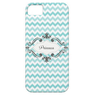Caja azul y blanca de Chevron IPhone iPhone 5 Case-Mate Coberturas