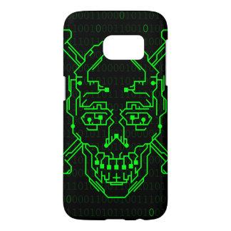 Caja binaria verde del cráneo S7 de Digitaces Funda Samsung Galaxy S7