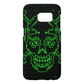 Caja binaria verde del cráneo S7 de Digitaces Fundas Samsung Galaxy S7