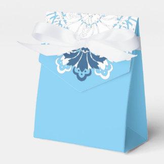Caja blanca C del favor del damasco de la turquesa