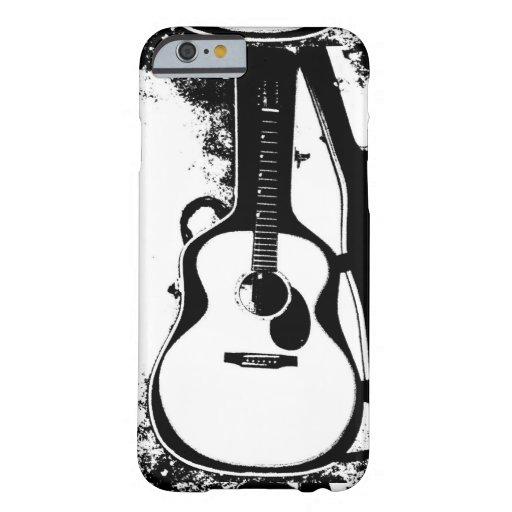 """""""Caja blanco y negro de la guitarra acústica """" Funda De iPhone 6 Barely There"""