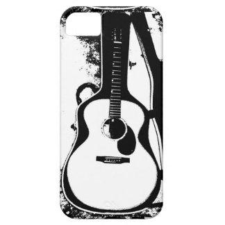 Caja blanco y negro de la guitarra acústica iPhone 5 carcasa