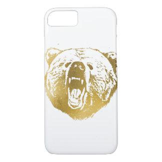 Caja, blanco y oro de oro del iPhone del oso Funda iPhone 7