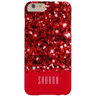 Caja brillante roja atractiva del confeti del funda barely there iPhone 6 plus