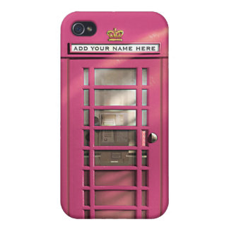 Caja británica rosada femenina divertida del iPhone 4 cárcasas