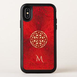 Caja céltica roja de Otterbox del monograma de la