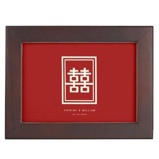 Caja china roja del boda de la felicidad doble del