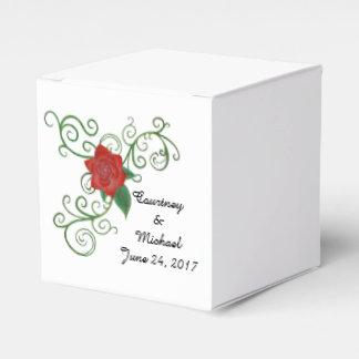 Caja color de rosa elegante del favor del boda