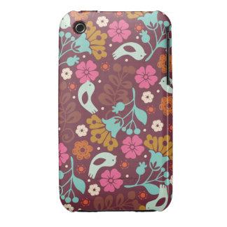 Caja colorida de las flores del vintage retro iPhone 3 Case-Mate cárcasas