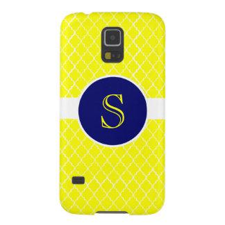 Caja con monograma amarilla brillante del teléfono funda galaxy s5