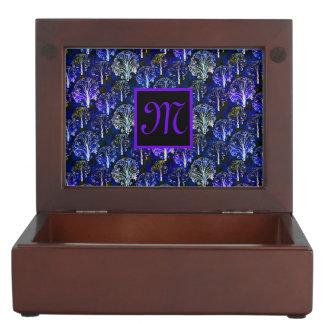 Caja con monograma azul y violeta elegante de la