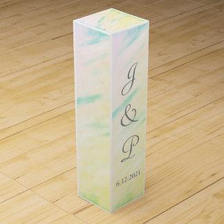Caja con monograma del vino del boda de la