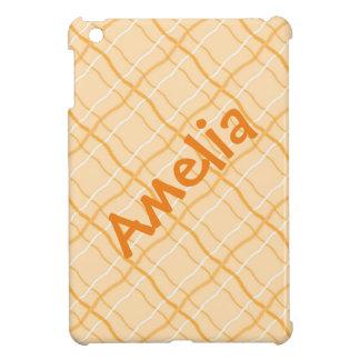 Caja cuadrada anaranjada del iPad del nombre del