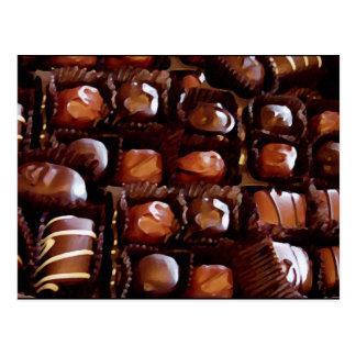 Caja de chocolates caramelo de chocolate de la postal