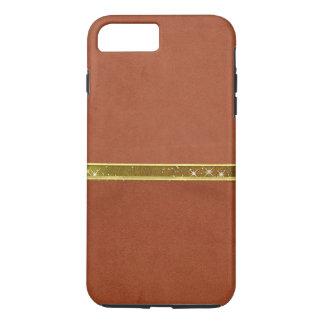 Caja de cuero de la banda de la chispa del oro de funda iPhone 7 plus