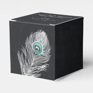 Caja de encargo del favor del boda del pavo real d