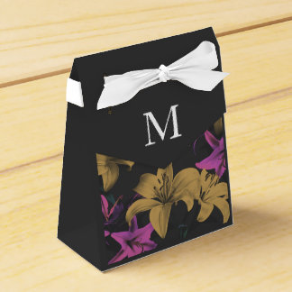 Caja de encargo floral oscura del favor del boda